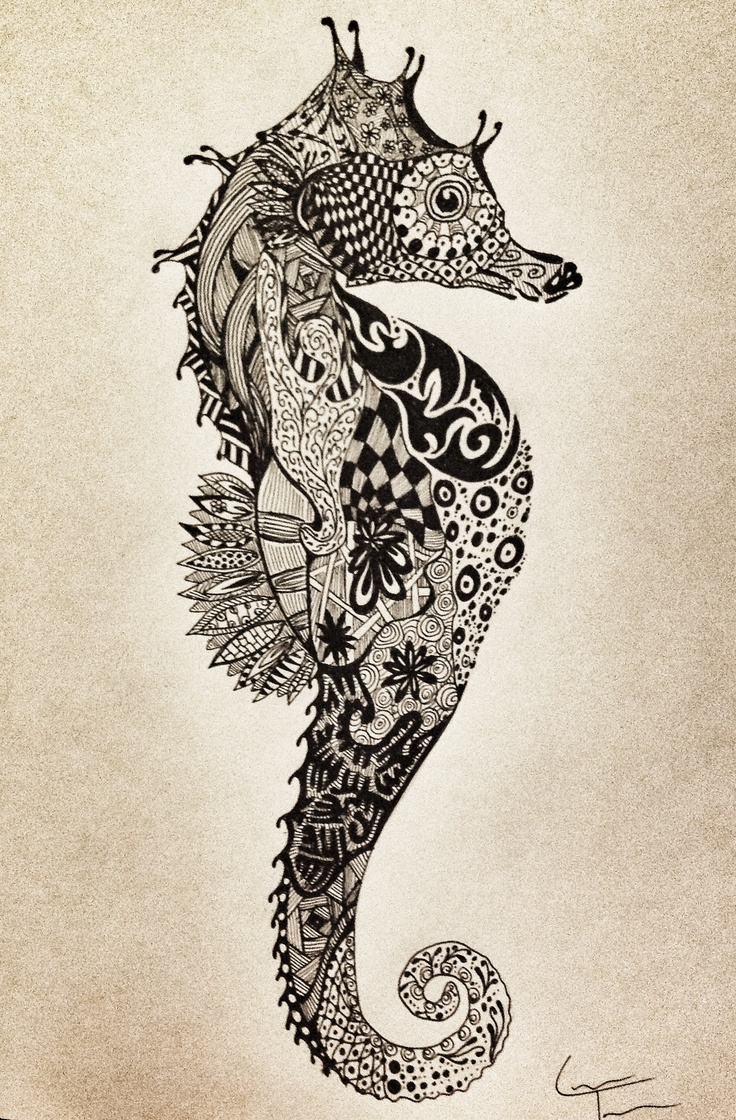 Seahorse Find more and follow me at www.facebook.com/TelferZentangle