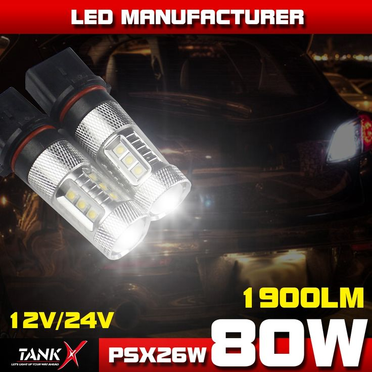 38.39$  Watch now - http://di44s.justgood.pw/ali/go.php?t=1798013954 - Brand New!! 2x 80W 16-LEDs PSX26W Power Light 12V-24V Turn Signal Light Brake White Light 360' Beam Angle