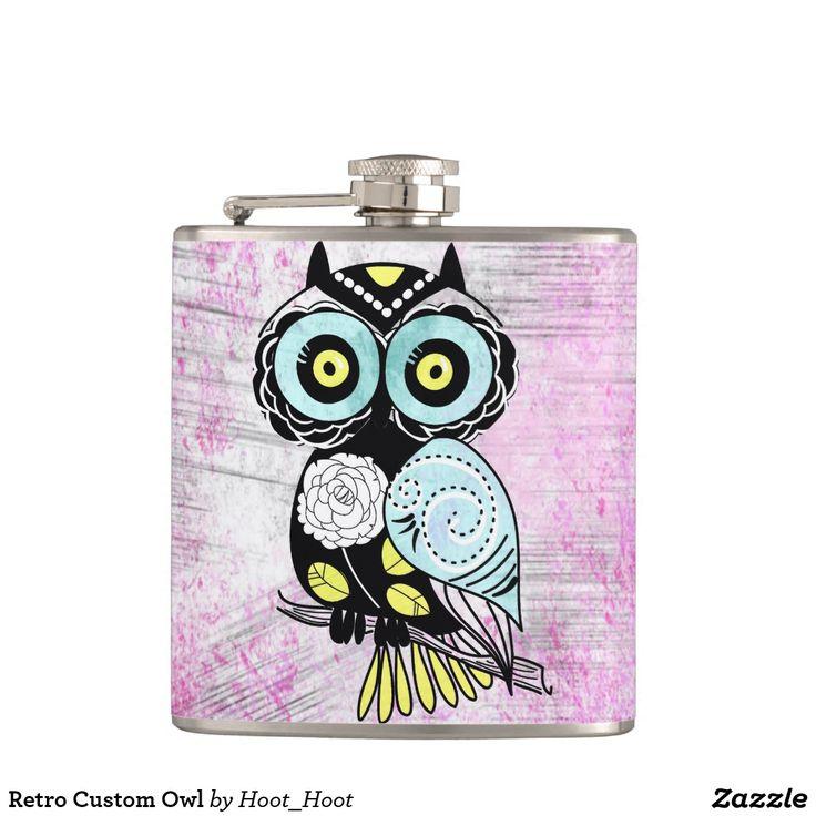 Retro Custom Owl Hip Flask