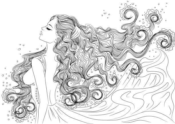 Line Art Vector Illustration Of A Beautiful Young Woman With Long Line Art Line Art Vector Art