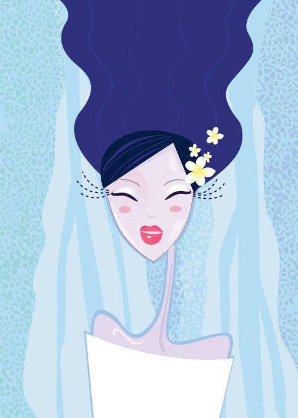 Water asia hand-drawn Geisha. New edition in Creative shop. Enjoy blue design.