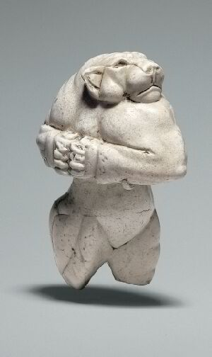 """Elamite Standing antrhopoid lioness, ca 3000–2800 BCE aka Guennol Lioness. Carved limestone 3.25"""" tall. Found near Baghdad, Iraq. private coll."""