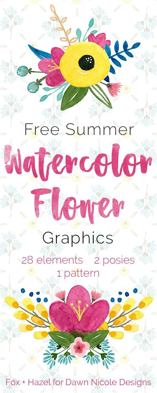 Free Summer Watercolor Flower Graphics -- Fox + Hazel for Dawn Nicole Designs