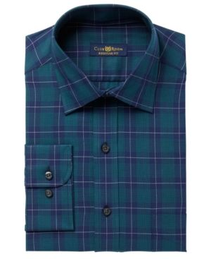 Club Room Men's Regular Fit Twill Houndstooth Plaid Dress Shirt, Created for…