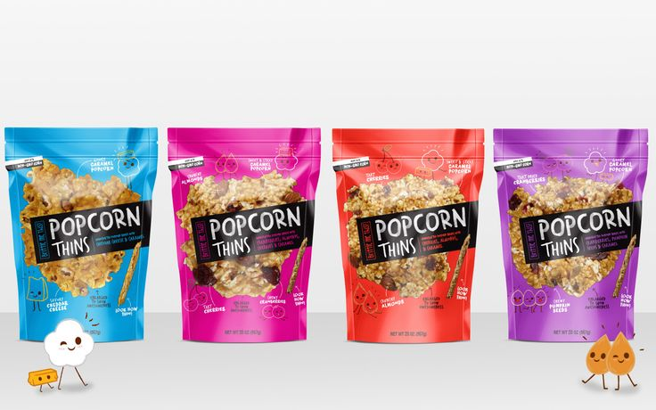 Popcorn Thins - Branding & Snack Food Packaging for Hello Delicious Brands by Pivot Marketing Inc.