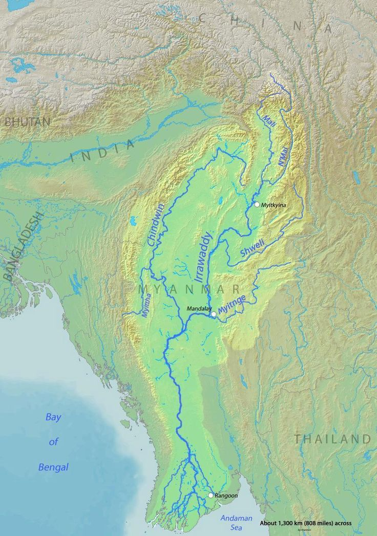 Map of the Irrawaddy River which drains
