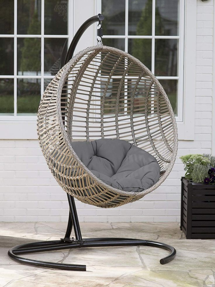 Boho Chic Style Resin Wicker Hanging Egg Chair in 2020