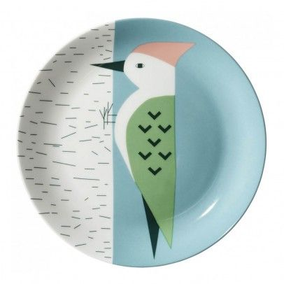 Assiette en céramique Pic Vert Multicolore  Donna Wilson