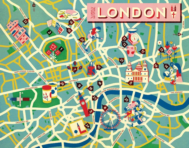 Jon Frickey: Meine Stadt - Map of London for Neon Magazine, Germany