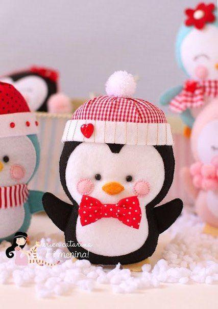 Patrones de pinguinos navideños con fieltro06
