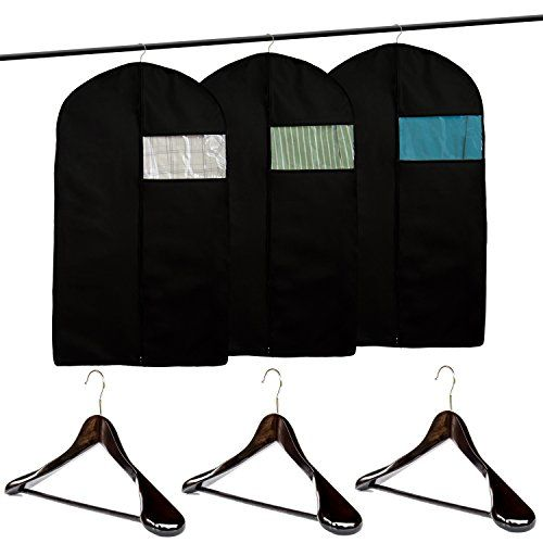 Clutter Mate (Set of 3) Garment Bag Covers for Suits and Wood Suit Hangers #Clutter #Mate #(Set #Garment #Covers #Suits #Wood #Suit #Hangers