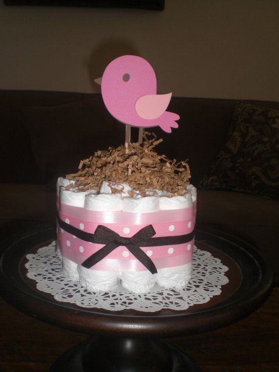 Bird Baby Shower Diaper Cake Centerpieces by bearbottomdiapercakes, $10.00
