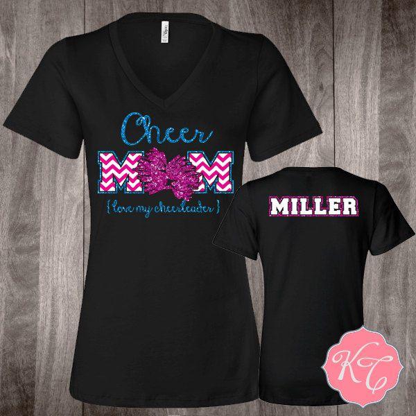 Personalized Cheer Mom or Dance Mom Custom glitter Shirt by KaydonCreek on Etsy