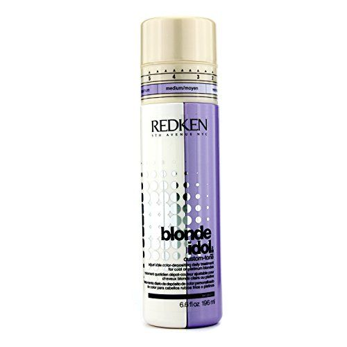Redken Blonde Idol Custom Tone Adjustable Hair Conditioner for Cool Colors // Based on the preferred color you are trying to achieve, you can measure the amount of purple toner that is released.