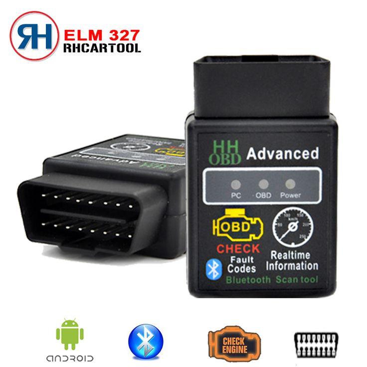 For Android Windows New SUPER MINI ELM327 HHOBD HH OBD Bluetooth OBD2 V2.1 Black Smart Car Diagnostic Tool Free Shipping
