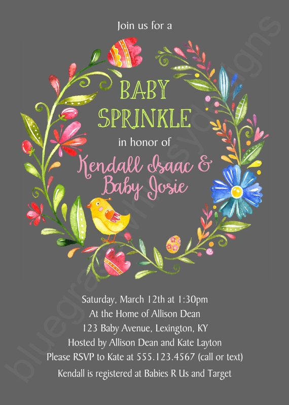 Wildflower Printable Baby Shower Invitation by BluegrassWhimsy