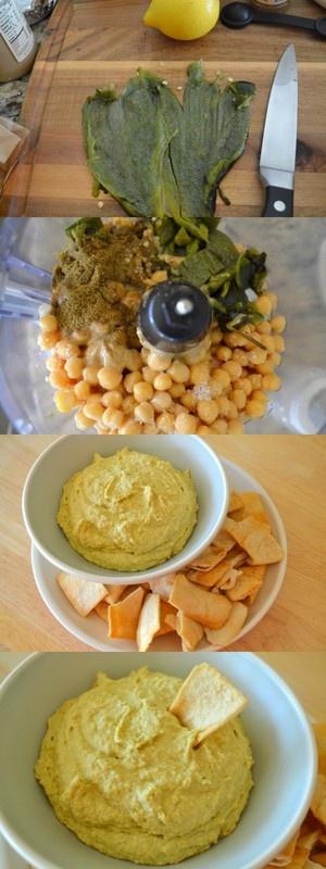Roasted Poblano Pepper Hummus, fun twist for a Cinco de Mayo dip