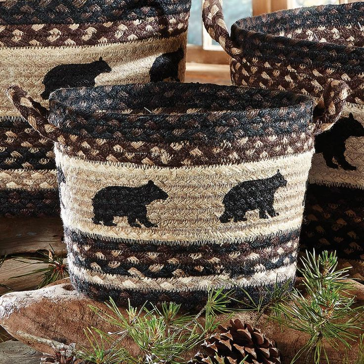 Black Bear Braided Utility Basket - Small