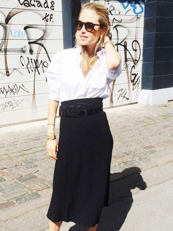 white collared shirt + black slim midi skirt
