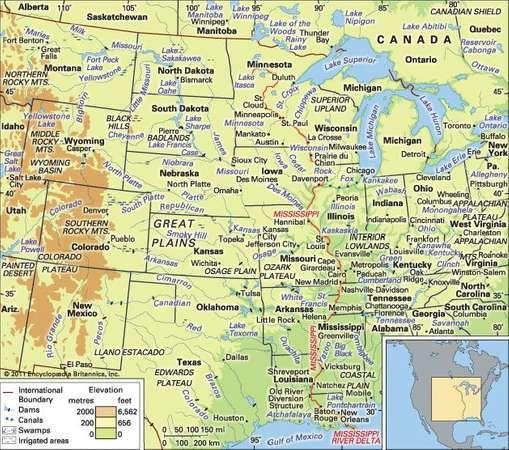 Interior Lowlands: Great Plains, Montana Lakes, Mackenzie River