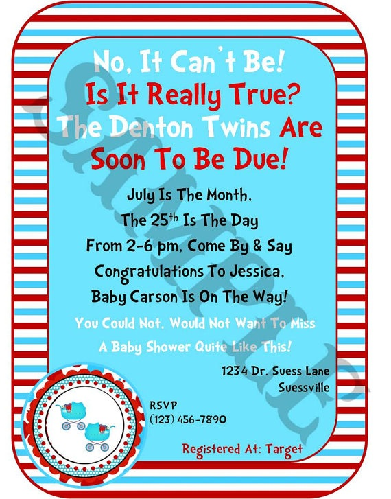 best twins baby shower images on   dr suess, twin, Baby shower invitation