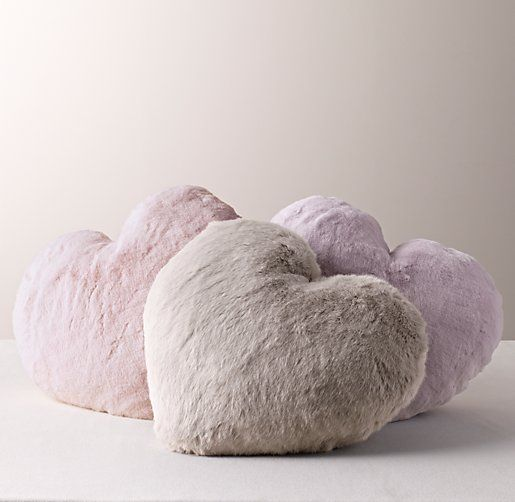 loveable heart-shaped pillows in luxuriant faux fur. #rhbabyandchild