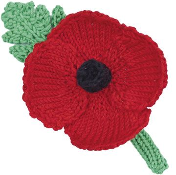 Knit Poppy Pattern. Free on Woman's Weekly. Etiquette on wearing Poppies The leaf should be positioned at 11 o'clock to represent the eleventh hour of the eleventh day of the eleventh month, the time that World War One formally ended. He was worried that younger generations wouldn't understand this and his generation wouldn't be around for much longer to teach them.