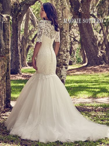 50367becbc1e Maggie Sottero Orchid lace wedding gown with lace jacket ...