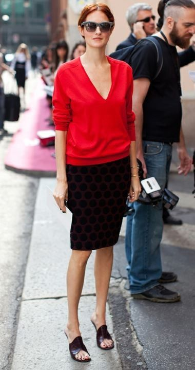 Use Burberry or Nanette skirt (blue) and Pink Tartan red cashmere sweater.