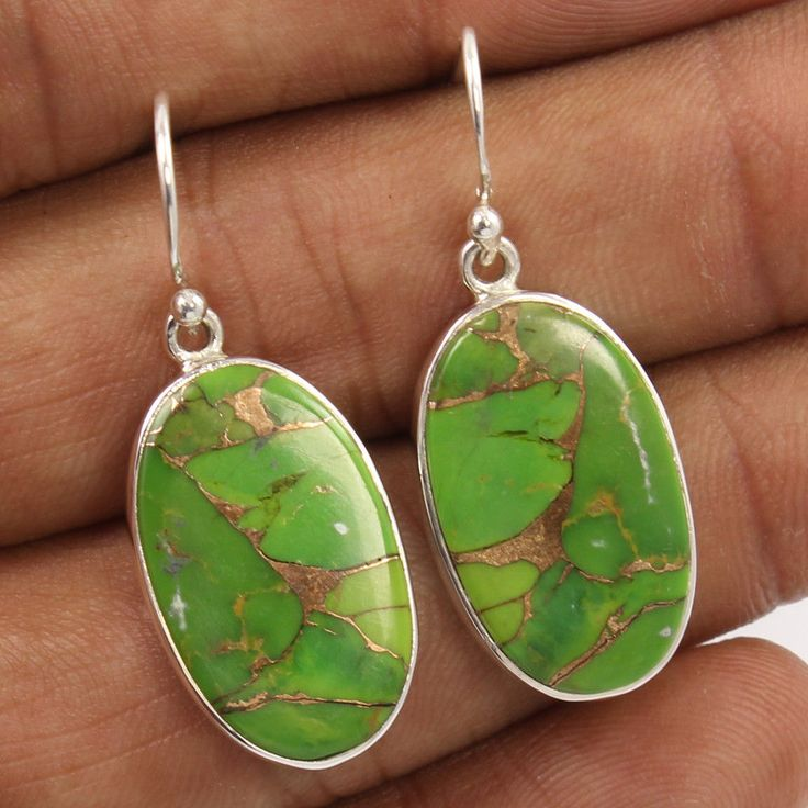 """925 Sterling Silver Earrings GREEN COPPER TURQUOISE Gemstones Length 38mm 1 1/2"""" #Unbranded #DropDangle"""