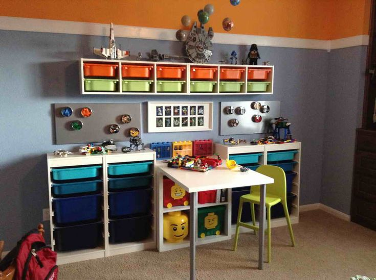 Bedroom Decor:Lego Bedroom Accessories Storage With Orange And Gray Wall Feasible Pictures of Lego Bedroom Accessories for Boys