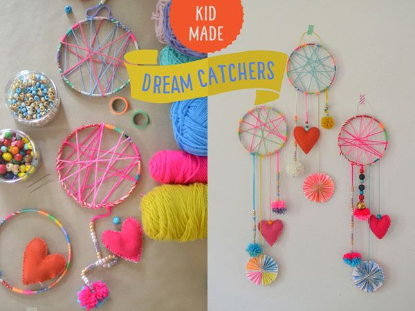I'm so excited to finally get this post up!! We made these dream catchers during art camp in July and the kids were so into it. They really loved making al