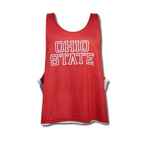 Ohio State Lacrosse Pinnie, Ohio State reversible mesh lacrosse pinnie. Red with white print on one side, white with red print on the other. 100% polyester. Comes in two sizes: S/M (36-40) and L/XL (44-48). Brand: Teamwork Athletic Apparel.