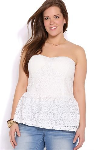 Deb Shops Plus Size Strapless Floral Crochet Peplum Top $12.00