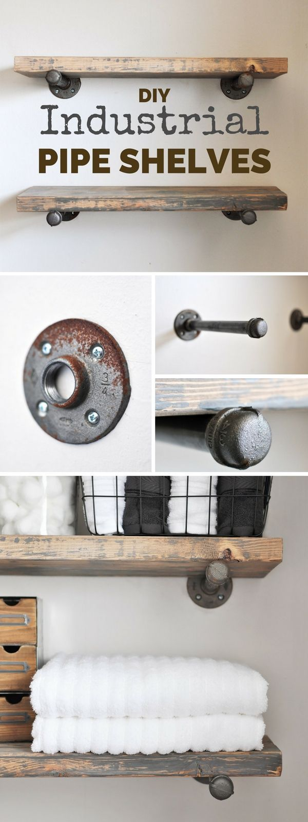 Check out this easy idea on how to build #DIY industrial pipe shelves for #rustic #bathroom #homedecor on a #budget @istandarddesign