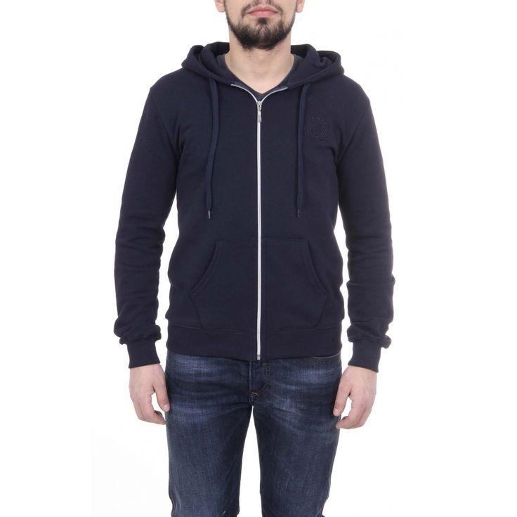 Versace 19.69 Abbigliamento Sportivo Srl Milano Italia Mens Hoodie With Zip ART. 4468 DARK BLUE