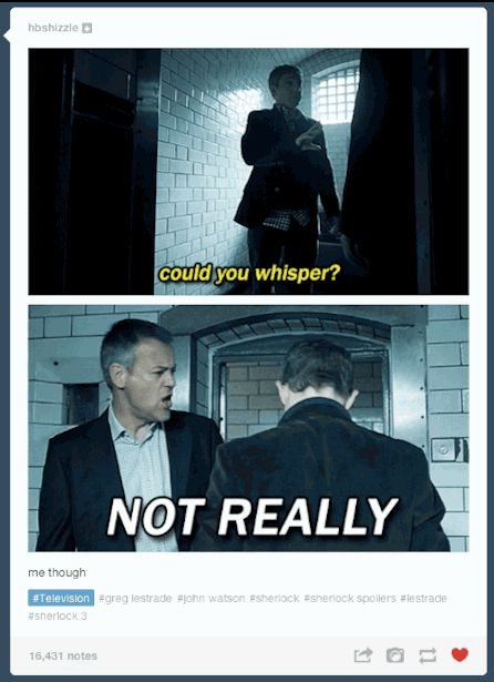 "Not only was there drunk Sherlock and drunk John, there was ""SILENCE IS NOT MY DIVISION"" Lestrade… 
