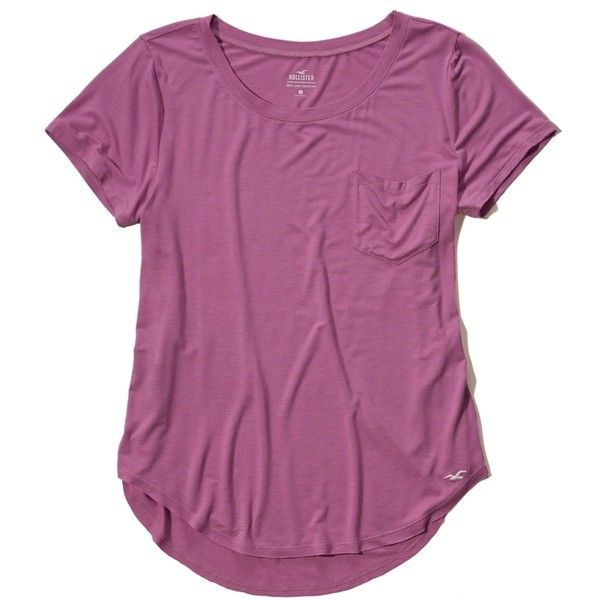 Hollister Must-Have Easy Pocket Tee ($15) ❤ liked on Polyvore featuring tops, t-shirts, light purple, purple t shirt, relaxed fit t shirt, scoop-neck tees, lavender top and curved hem t shirt