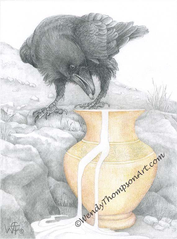 Aesop's Raven-kunst Notitiekaarten - origineel ontwerp corvid kunst, raven veren eigenzinnigheid, Aesop's fabels, potlood kunst, grafiet door WendyThompsonArt op Etsy https://www.etsy.com/nl/listing/115935073/aesops-raven-kunst-notitiekaarten