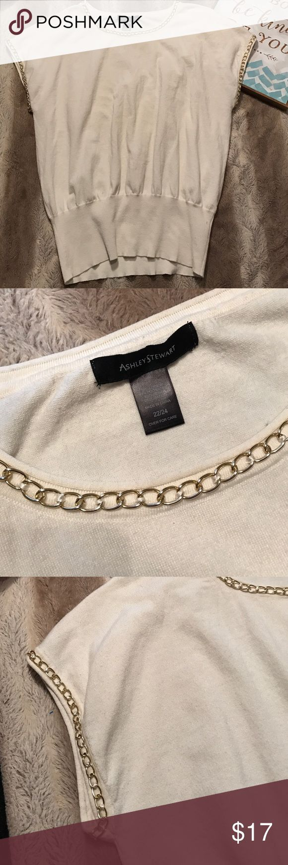 Ashley Stewart light sweater shirt. Size 22/24 This cream short sleeve shirt has chain embellishment around arm and neckline. This shirt has a few small snags (pictures included) If you have any questions please let me know. W Ashley Stewart Tops Blouses