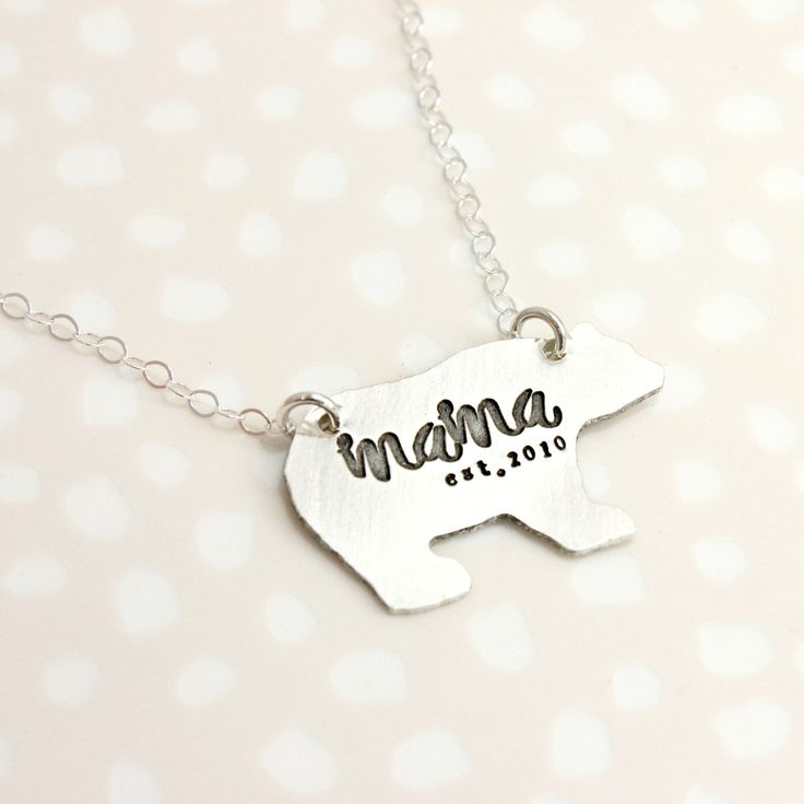 mama bear necklace, sterling silver - Tag...You're It