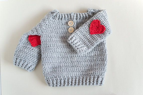 Red Heart  Crochet Baby Sweater by CrobyPatterns on Etsy