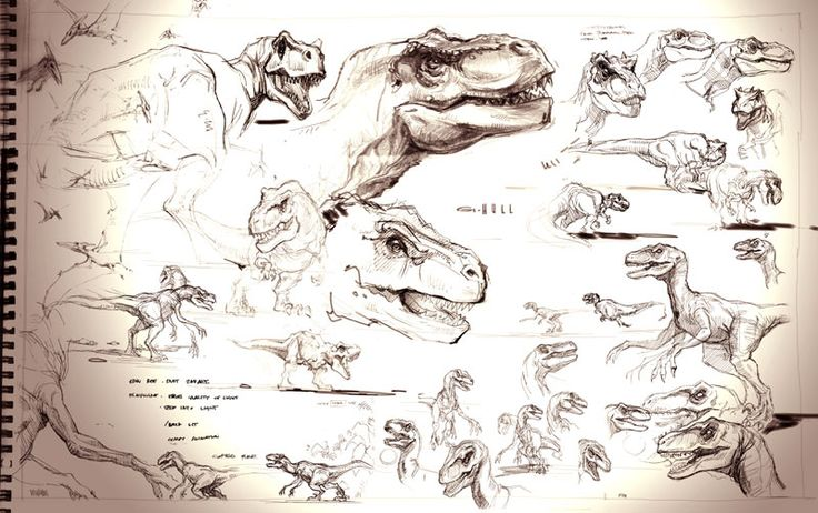 The Lost World Jurassic Park sketchbook: T-rex and Raptor