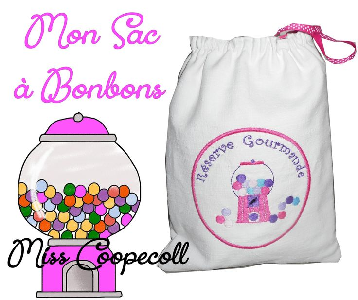 """Sac à bonbons brodé """"Ma réserve gourmande rose"""" - création miss coopecoll : Autres sacs par miss-coopecoll"""