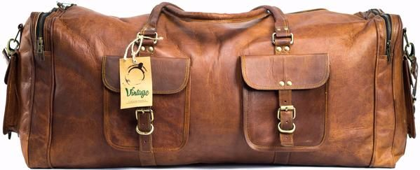 "Vintage Handmade Leather Military Style Duffel Bag Overnight Bag Weekender Bag 30 "" - Vintage Leather"