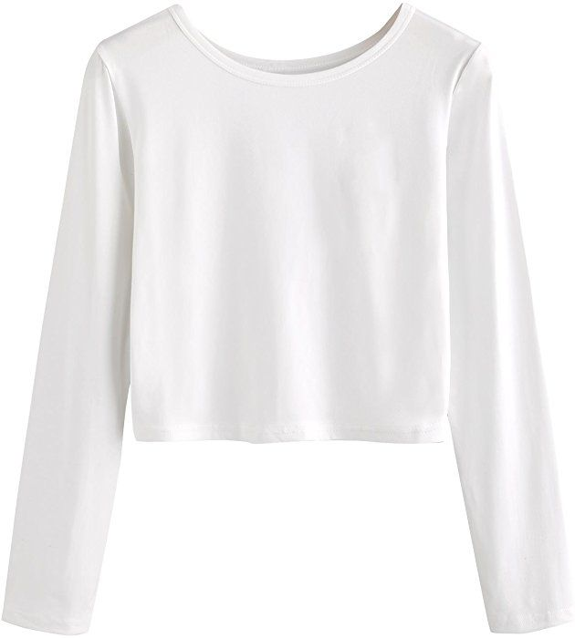 632cb7c8c49 SweatyRocks Women's Rose Embroidered Long Sleeve Crop T-shirt Casual Tee  Tops White XL at Amazon Women's Clothing store: