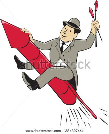 Illustration of a man in a suit wearing bowler hat holding fireworks riding fireworks rocket set on isolated white background done in cartoon style.  - stock vector #fireworks #cartoon #illustration