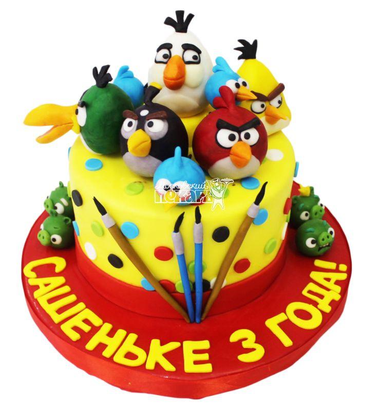 №3751 Торт Злые птицы купить по выгодной цене с доставкой по Москве. Интернет-магазин Московский Пекарь
