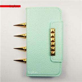 Apple iPhone 5S Mint Gold Studs and Edgy Spikes Cute Vegan Leather Phone Case  ***********Shop now and use the code :REPIN to get 15% off and get FREE shipping within the U.S...
