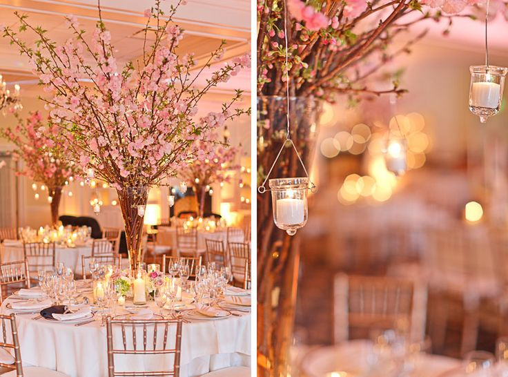 My center pieces will be long skinner branches with candles hanging from them.